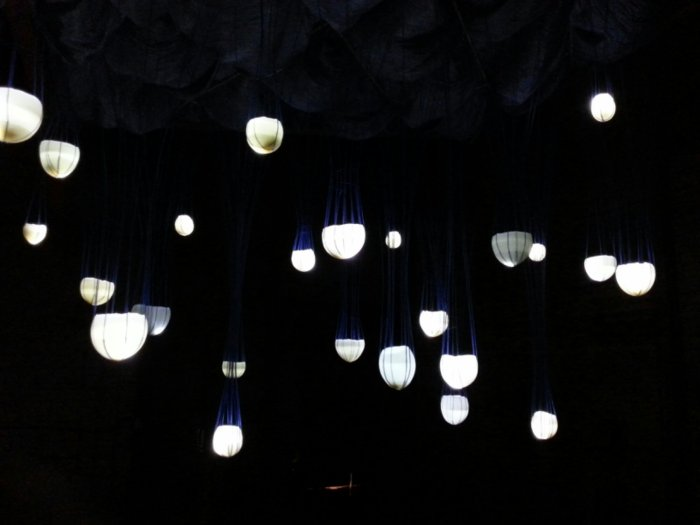 abbie powers installation art made of silk, string, wax and light, suspended installation art, suspended silk