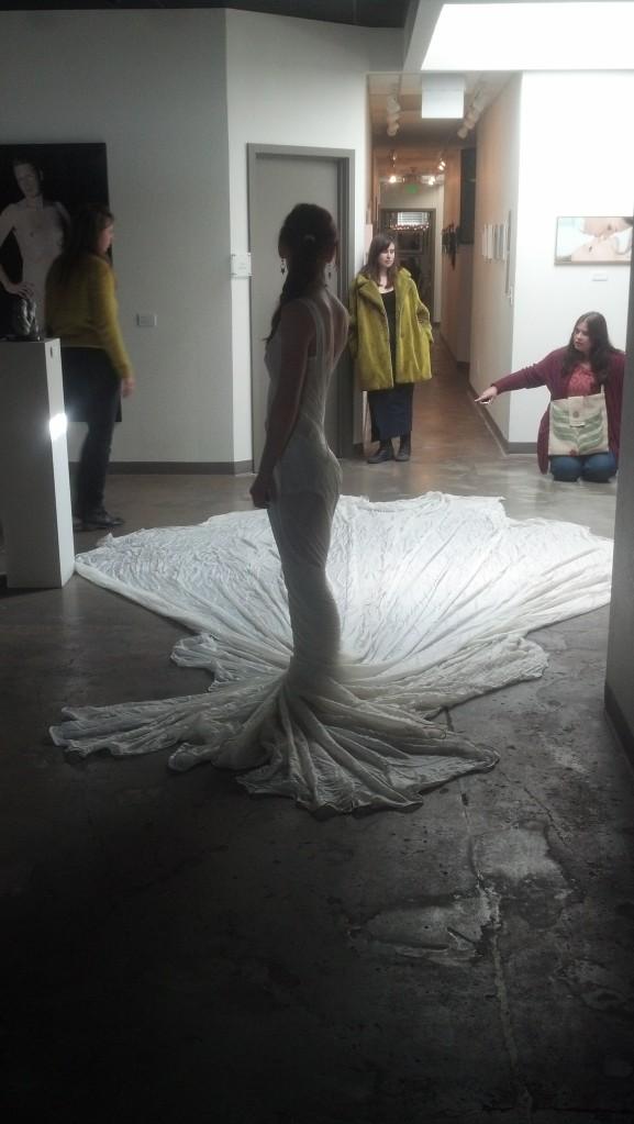 silk dress performance art by Abbie Powers