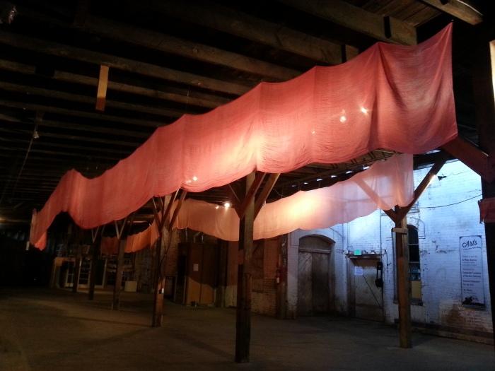 installation art by abbie powers, loveland artist, sculpture, silk sculpture, silk waves, waves of silk, contemporary art 2014