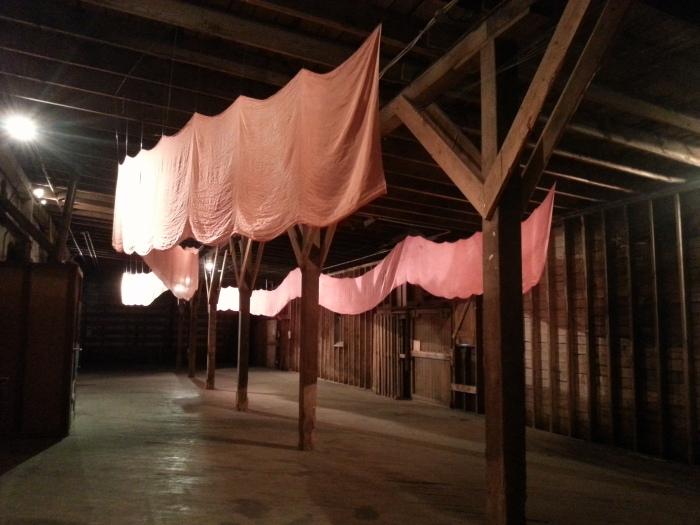 abbie r powers, silk art, art that hangs from the ceiling, sunrise, hand dyed silk art, fiber art