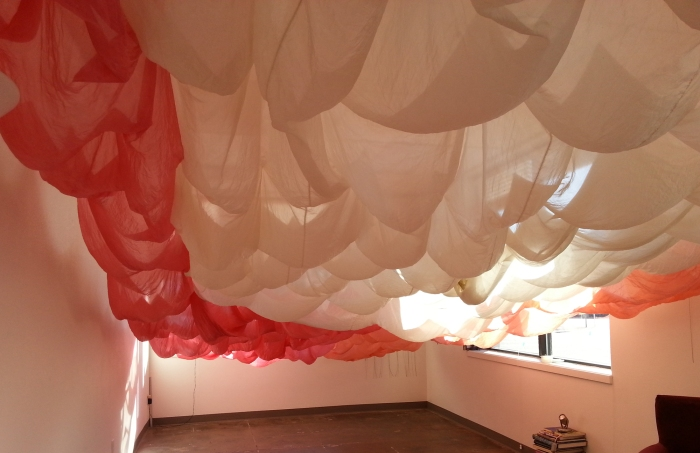 falling up installation art made of silk by abbie powers