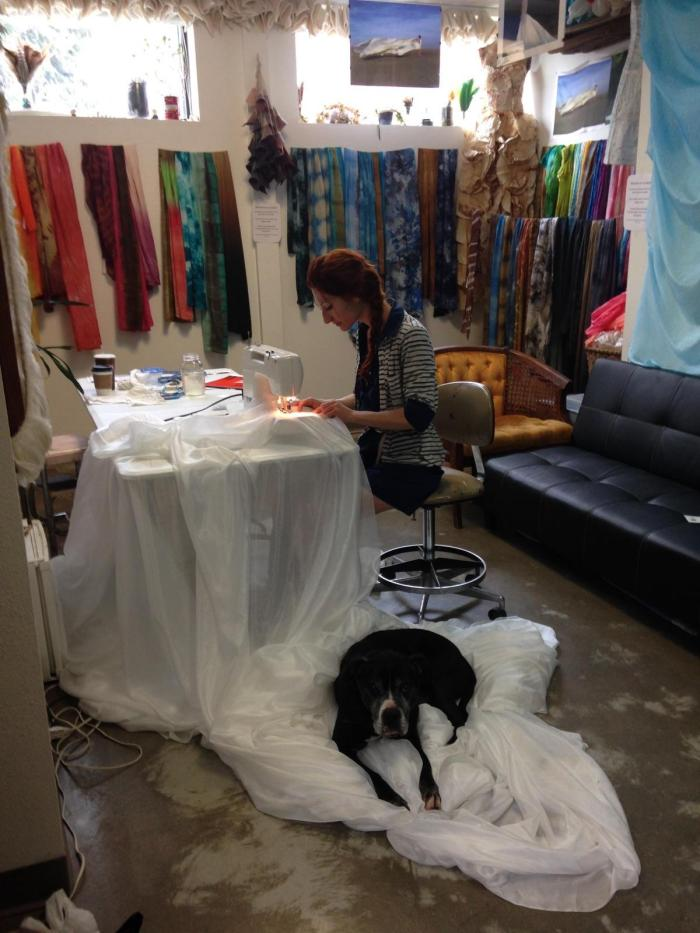 stitching silk with the help of Bear