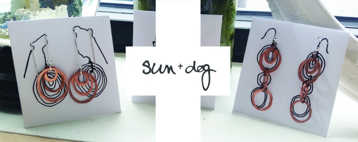 sun+dog hand hammered copper jewelry